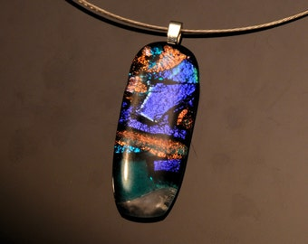 Purple Dichroic Glass Pendant and Chain