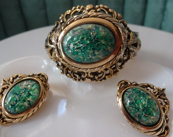 Vintage Rare Victorian Revival Whiting and Davis Peacock Easter Egg Filigree Demi Parure