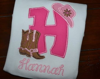 Personalized Cowgirl Initial Shirt