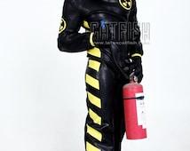 Best Man Gift / U+2623 Suit / Fireman latex catsuit /  Sexy Cool&Tight Man Latex Clothing,Latex Catsuit