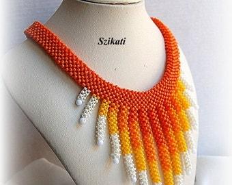 SALE! 10% OFF! Yellow/White/Orange Statement Beaded Bib Necklace, Beadwork Accessory, Women's Beadwoven Fashion Jewelry, Gift for Her, OOAK