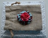 Baby Girl/ Toddler girl hair clip/ barrette/ hair bow/ alligator clip- Teal and red cabochon flower