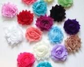 """Assorted- Shabby Flowers Chiffon Shabby Flower trim- 10 pc or 20 pc grab bag--  2.5"""""""