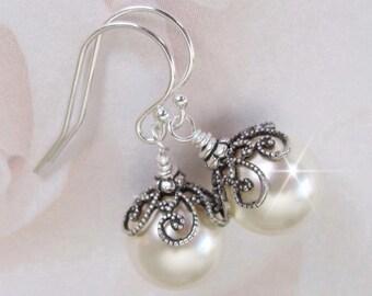 Bridal Pearl Earrings, Vintage Style Earrings, Antique Style, Pearl Wedding Earrings, Bridesmaid Earrings, Wedding Jewelry, Bridal Gift
