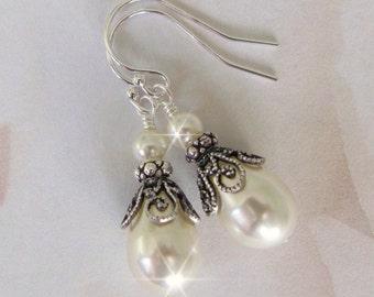Bridal Pearl Drop Earrings, Vintage Style Pearl Earrings for Bride, Bridesmaids, Mother of The Bride, Teardrop Pearl Wedding Jewelry