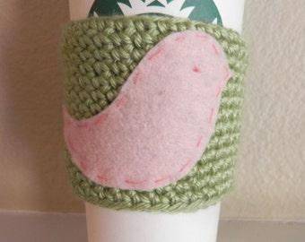 Bird Cup Cozy/Lovebird  Coffee Cup Cozy