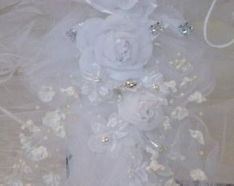WHITE WEDDING bouquet, white flower bouqute, white bridal bouquet, white wedding flowers, white bride bouquet, Fabric Flower Bouquet