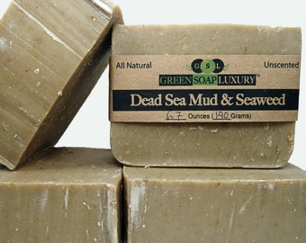 Dead Sea Mud and Seaweed Soap (6.8 to 7.3 oz) - Unscented, All Natural, VEGAN, Cold Process, PALM-FREE Soap