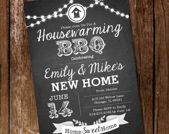 Chalkboard Housewarming BBQ Invitation - Housewarming Party - Housewarming BBQ - Instantly Downloadable and Editable File - Print at Home!