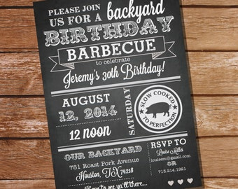 Chalkboard Birthday BBQ Invitation - Instantly Downloadable and Editable File - Personalize and Print at home with Adobe Reader