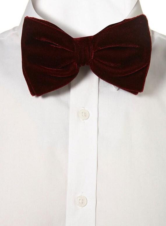 wine colored oversized velvet bow tie by knottedupneckwear