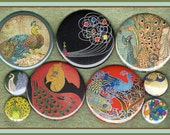custom listing for: Jennymillstein 9 mod art nouveau Peacock MIXED SIZE set MAGNETS