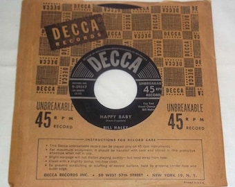Vintage 45 RPM Vinyl DECCA Record Bill Haley & His Comets Dim, Dim the Lights/ Happy Baby