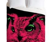 Childrens Owl Duvet Cover / Pink Duvet / Twin, King Queen Size Duvet / Owl Blanket / Owl Duvet / Kids Room Blanket / Owl Bedding / Owl Decor