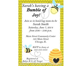 Bumble Bee Baby Shower Invitation, Mommy to Bee Baby Shower Invite, Printable Bee Theme Baby Shower Invitation, Gender Neutral Shower Invite
