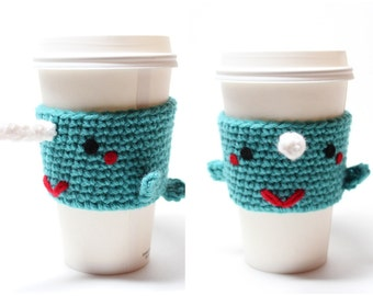 Narwhal Coffee Cozy, Sea Creature Can Holder,  Coffee Sleeve, Animal Crochet Drink Cup Holder, Travel Mug Cozy