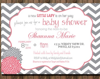 Chevron Baby Girl Shower Invitation Shabby Chic _1150