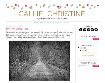 Blogger Template Premade Blog Design Theme - Callie Christine - INSTALLATION INCLUDED - Rainbow, Colorful, Responsive, Simple, Confetti,Gold
