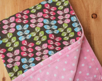 Minky Baby Girl Blanket- Pink, Green, Blue, and Brown Leaves on Pink Polka Dot Minky