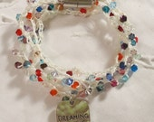 Crocheted Wrap Bracelet with Swarovski Crystals
