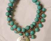Crocheted Bead Bracelet with Natural Stones