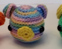 Amigurumi Pig  Crochet Yarn Stuffed Toy Farm Animal Black Eyes