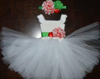 Crochet Christmas Tulle Tutu Dress Baby Costume Handmade Photo Prop red white green