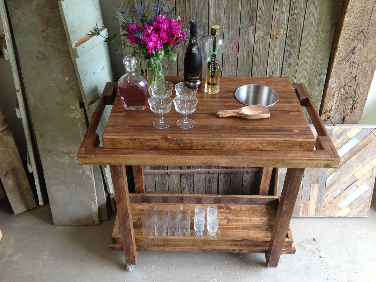 rustic bar cart trolley storage on casters by newantiquity. Black Bedroom Furniture Sets. Home Design Ideas