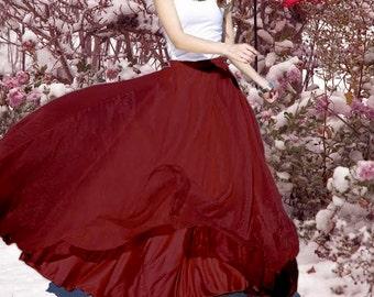 SALE, Women's Wine Red Chiffon Skirt Maxi Skirt Long Skirt Maxi Dress Chiffon Dress Summer Dress Beach Skirt  Pleat Skirt Bohemian Skirt