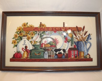 Vintage Folk Art Needlework, Antiques- Professionally Framed Stitchery, Hand Stitched with Love for your Country Cottage or Store Front