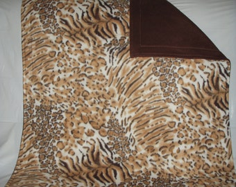 Pet Blanket - lovely brown and tan leopard tiger print with reversible solid dark brown fleece