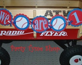 Baseball Themed Sports Birthday Banner . We are 1 One Highchair Banner . First Birthday Party Decorations in Red White & Blue