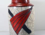Vintage Raku Pottery Geometric Art Deco Design Red Black White Crackle Vase Signed