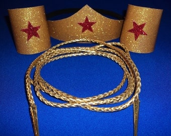 Wonder Woman Costume Accessories Set  Tiara headband, Cuffs,  and Golden Lasso