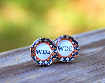 Auburn WDE Cufflinks. War Damn Eagle Wedding Gift Football Fraternity Brother Wedding Day Groom Groomsmen Anniversary Husband Resin