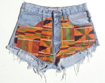 Kente Denim High Waisted Shorts