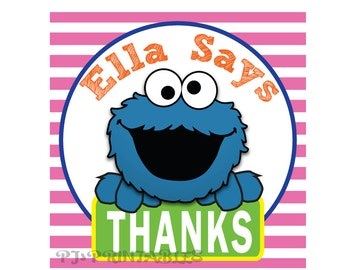 Cookie Monster Thank You Tags- Customized Digital File
