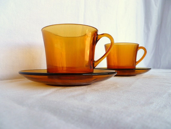 Duralex Large Coffee Cups And Saucer Set Of 2 By Frenchidyll