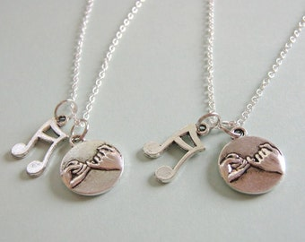 2 Pinky Promise Pinky Swear Best Friends Music Note Necklaces