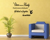 Ohana means family Vinyl Wall Art Sticker Decal Quote Saying Letters  Removable Letters Removable Letters (C167)