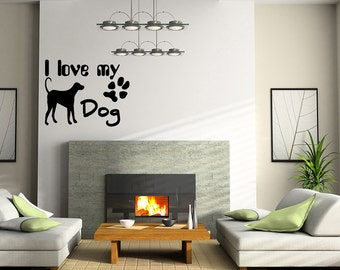 I love my Dog  Paw sticker Vinyl Wall Decal Quote Removable Art (X2)