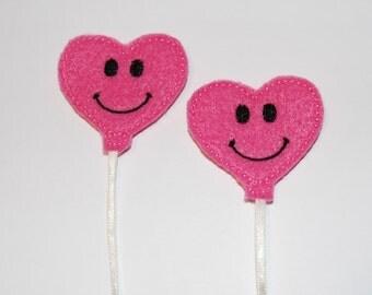 Set of 2 Smiling Heart Balloon Feltie Felt Embellishments