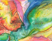 Abstract Bright Colorful Wings Watercolor on Postcard paper - 4x6 inch - Decorative Hand Made Painting