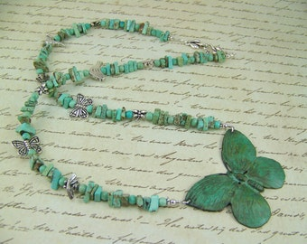 Turquoise Bead Necklace, Verdigris Butterfly Necklace, Butterfly Necklace, Bees, Bird Necklace, Dragonfly, Turquoise Necklace, Hummingbird