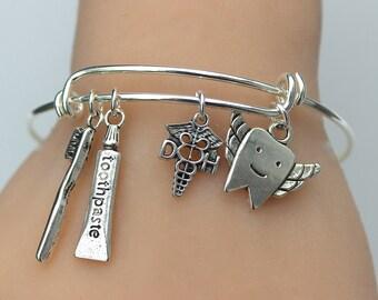 DENTAL HYGIENIST Adjustable Bangle - Charm Bracelet - Dental - Gift For Her, Under 20 - Graduation Gift -  R32