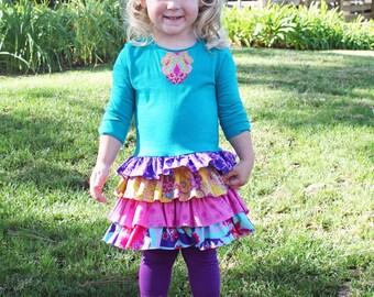 Girls T-shirt Dress pdf sewing pattern ruffles Matilda Jane inspired toddler LAYER CAKE