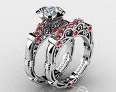 Art Masters Caravaggio 10K White Gold 1.0 Ct White Sapphire Rubies Engagement Ring Wedding Band Set R623S-10KWGRWS
