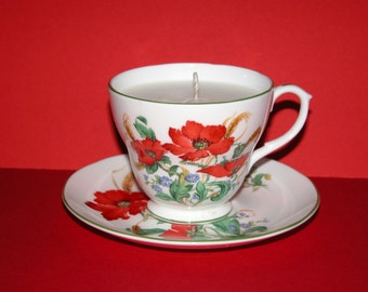 Pretty Vintage Bone China Poppy Candle Cup, Saucer and Plate