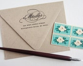 """Return Address Stamp No. 7 • Calligraphy, Script Font • Rubber Ink Stamp with Handle or Self-Inking Stamp • Custom, Personalized • 2.5"""" x 2"""""""