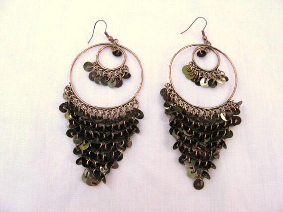Gypsy Sequins  Copper Color Earrings Pierced / Chandelier Earrings / women  / fashion jewelry
